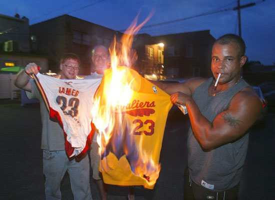 burning-LeBron-jerseys